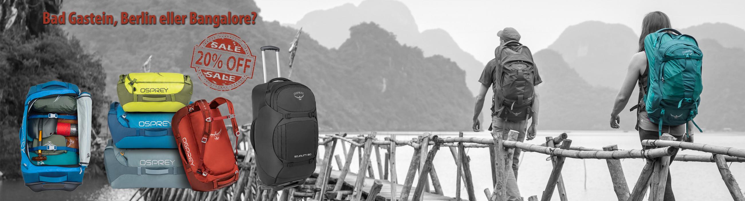 20% på resväskor & reseryggsäckar från Osprey
